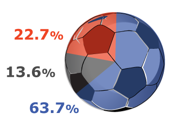 pie chart reminding of a soccer ball